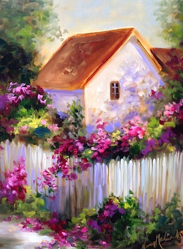 """Bougainvillea Cottage Garden and My Coronado Show by Nancy Medina"" original fine art by Nancy Medina"