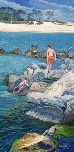"""Boys On The Rocks"" original fine art by Alan Mintz"