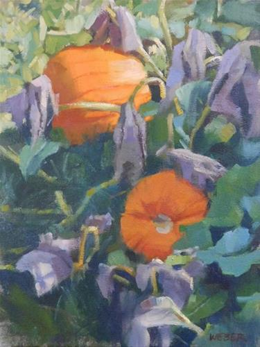 """Frost on the Pumpkins"" original fine art by Kathy Weber"