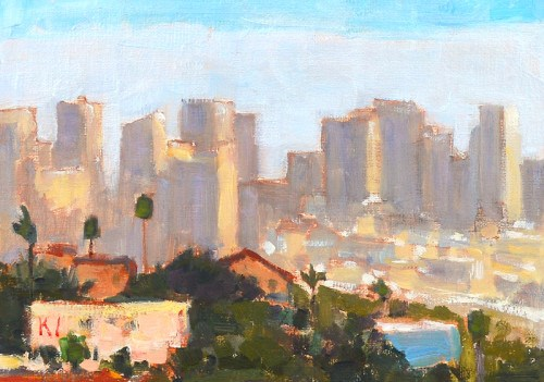 """San Diego Skyline"" original fine art by Kevin Inman"