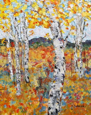 """Original Palette Knife Aspen Landscape Painting Wandering Spirit of Golden Meadow by  Colorado Imp"" original fine art by Judith Babcock"