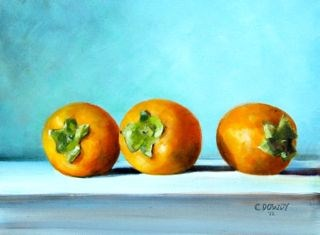 """Persimmons"" original fine art by Christina Dowdy"