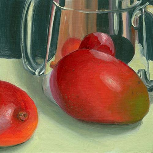 """Mangos with pewter cup"" original fine art by Jean Wilkey"