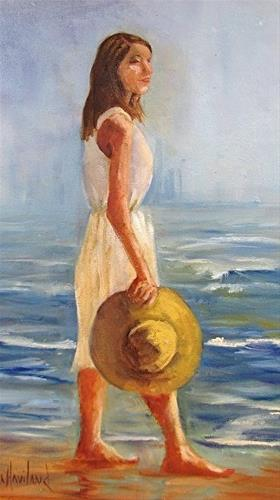 """Dana on the Beach, figure,seascape,canvas panel2C"" original fine art by Barbara Haviland"