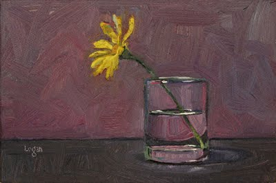 """Euryops in Votive Vase"" original fine art by Raymond Logan"
