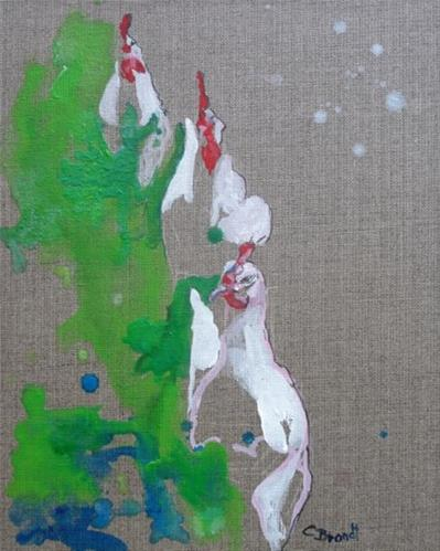 """chickenrun"" original fine art by Claudia Brandt"