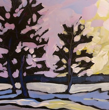 """Lake Calhoun, January 2104"" original fine art by Kat Corrigan"