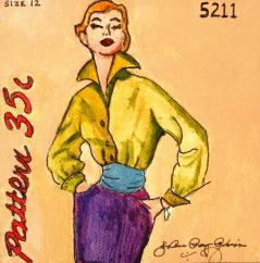 """Vintage 50's Gal"" original fine art by JoAnne Perez Robinson"