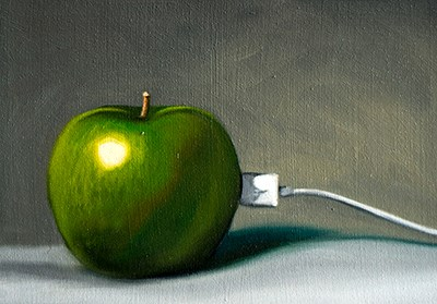 """Plugged in Apple iFruit"" original fine art by Lauren Pretorius"