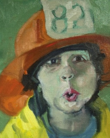 """Fireman"" original fine art by Carol Wiley"