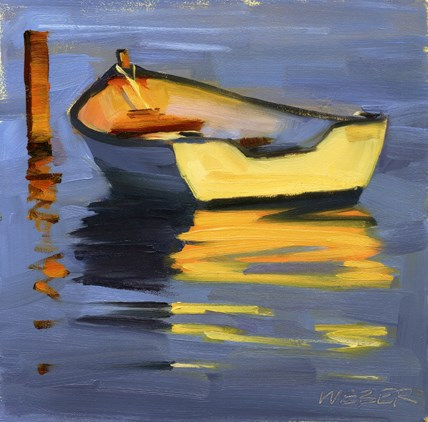 """Skiff at sunset oil painting"" original fine art by Kathy Weber"