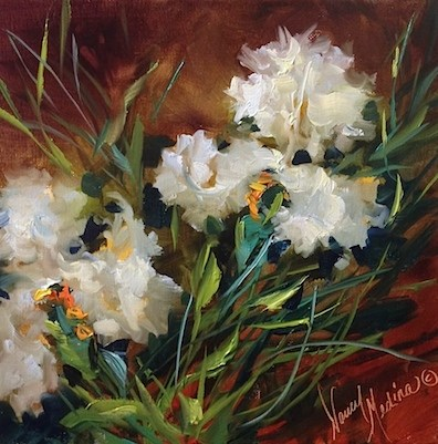 """White Iris Tango and Big News in Flower Mound Studio - Flower Paintings by Nancy Medina"" original fine art by Nancy Medina"