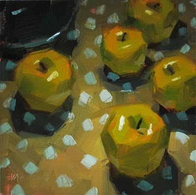 """Apple Attack"" original fine art by Carol Marine"