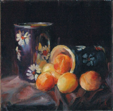 """Abricots et poterie"" original fine art by Evelyne Heimburger Evhe"