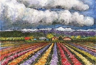 """Monotype: California Flower Fields"" original fine art by Belinda Del Pesco"