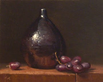 """Still Life with Red Grapes and Drop Vase"" original fine art by Abbey Ryan"