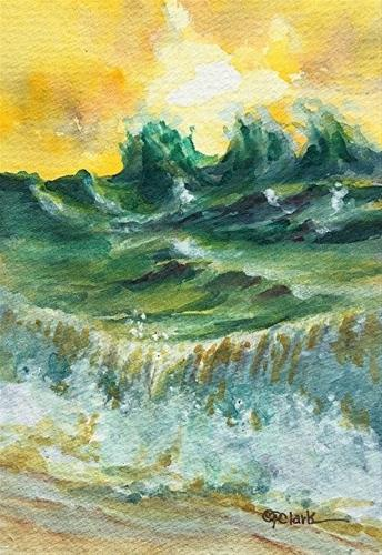 """Wave study 11, 4 x 6,  Watercolor, Seascape"" original fine art by Donna Pierce-Clark"