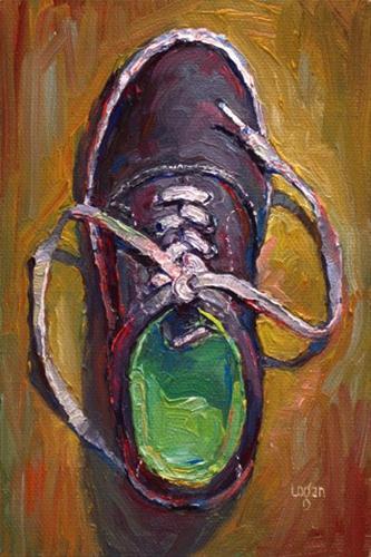 """Chartreuse Shoe"" original fine art by Raymond Logan"