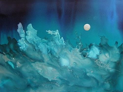 """Lunar Waves, 5 x 7 inch, pen and ink, seascape"" original fine art by Donna Pierce-Clark"