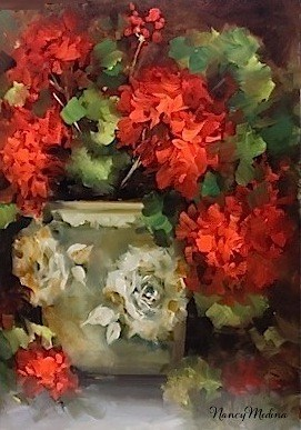"""Warm Thoughts Geraniums and a North Texas Workshop by Nancy Medina"" original fine art by Nancy Medina"