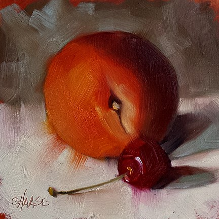 """Peach and Cherry"" original fine art by Cindy Haase"