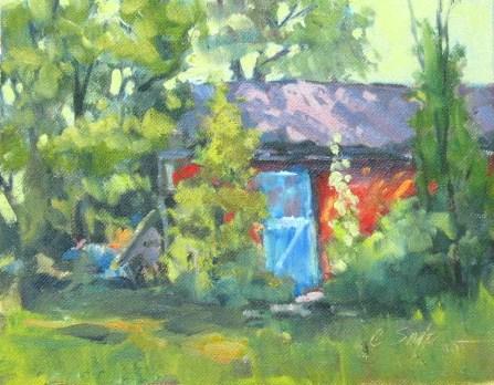 """Backyard, June 2011"" original fine art by Connie Snipes"