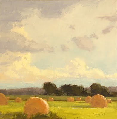 """Hay Rolls with Summer Sky"" original fine art by Laurel Daniel"
