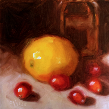"""Lemon and Cranberries"" original fine art by Cindy Haase"