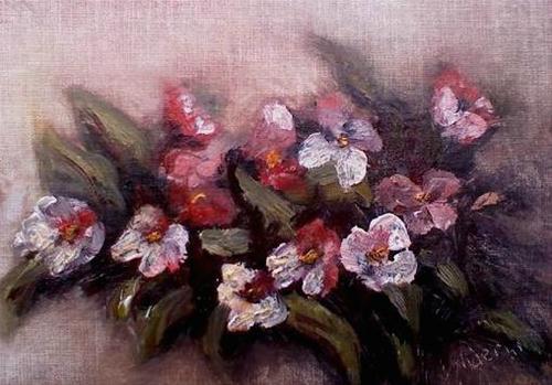 """Impatiens in the garden"" original fine art by Judith Anderson"