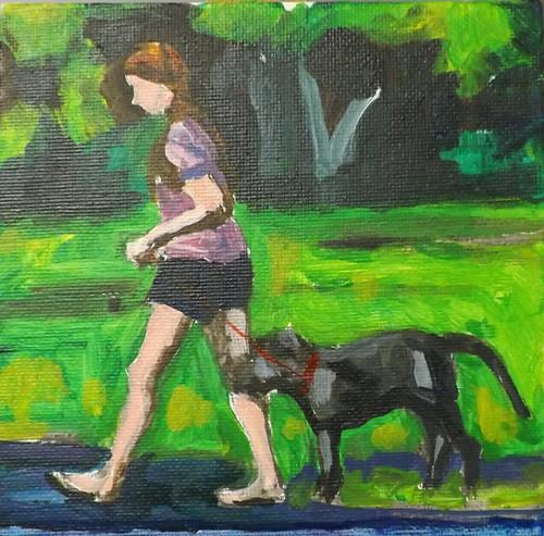 """A girl holding a dog,U8"" original fine art by Run-      Zhang Zane"