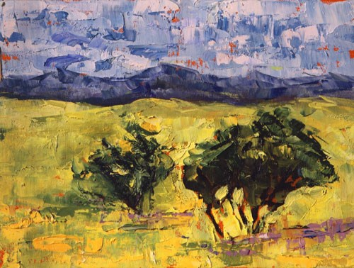 """Palette Knife Colorado Landscape Painting  Prairie View by Colorado Impressionist Judith Babcock"" original fine art by Judith Babcock"