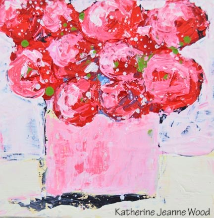 """Pink cottage chic floral painting No 159"" original fine art by Katie Jeanne Wood"