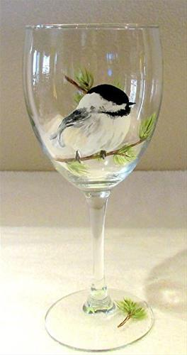 """Glass Art, Painted Wine Glass CHICKADEE FACING RIGHT by Mary Arneson Art-Works of Whimsy"" original fine art by Mary Arneson"