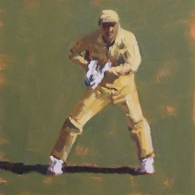 """WICKET KEEPER -Cricket at the MCG"" original fine art by Helen Cooper"