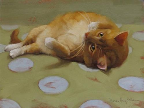 """Loafing orange kitty cat on blue dots, a new painting"" original fine art by Diane Hoeptner"