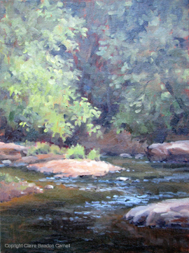 """""""ALONG THE MONACACY RIVER Original Plein Air Oil Painting by Claire Beadon Carnell"""" original fine art by Claire Beadon Carnell"""