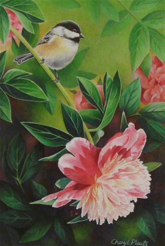 """Chickadee and Peony"" original fine art by Cheryl Plautz"