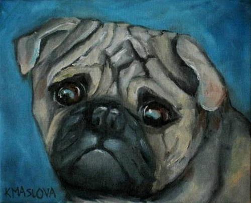 """""""Sad Pug"""" original fine art by Kulli Maslova"""