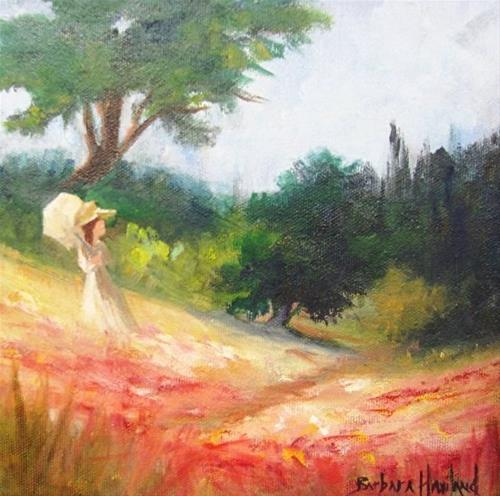 """Lady in a Poppy Field gallery wrap canvas  miniature oil painting"" original fine art by Barbara Haviland"