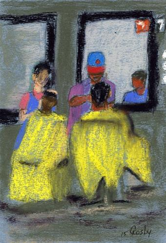 """Barber Station 7 and Before Me"" original fine art by Donna Crosby"