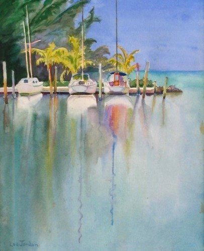 """Watercolor Seascape, Harbour Painting Banana Bayby New Orleans Artist Lou Jordan"" original fine art by Lou Jordan"