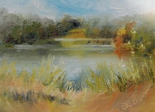 """Autumn Beginnings, Lake Logan, 2.5 x 3.5 Oil, Landscape"" original fine art by Donna Pierce-Clark"