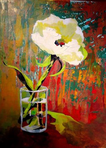"""One Lonely Peony"" original fine art by Laurie Mueller"