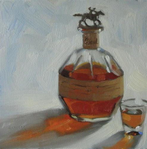 """Blanton's Single Barrel 6x6 oil"" original fine art by Claudia Hammer"