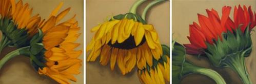 """Rolling Harvest three big sunflower paintings"" original fine art by Diane Hoeptner"