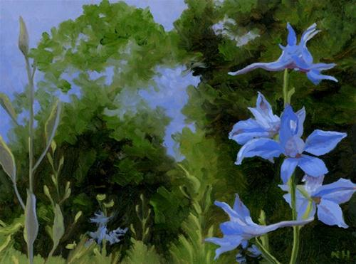 """Larkspur 2012"" original fine art by Nancy Herman"