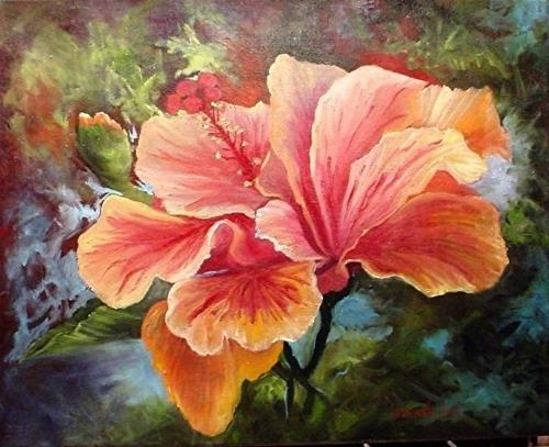 """Peach Hibiscus  oil painting"" original fine art by Barbara Haviland"