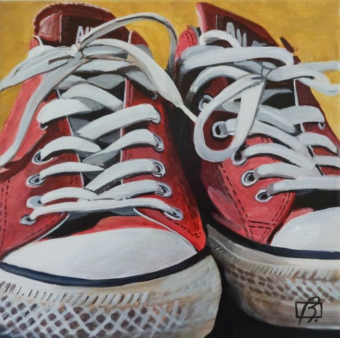 """Orange Converse"" original fine art by Andre Beaulieu"