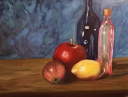 """Still Life with Lemon and Blue Bottle"" original fine art by Mechele Flowers"