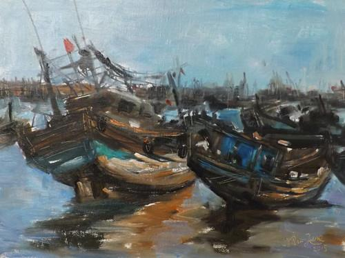 """sailing boat,M30"" original fine art by Run-      Zhang Zane"